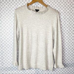 NET Ann Taylor Factory Heather Ruffle Trim Sweater